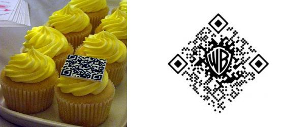 Examples of various placement and appearance of QR codes